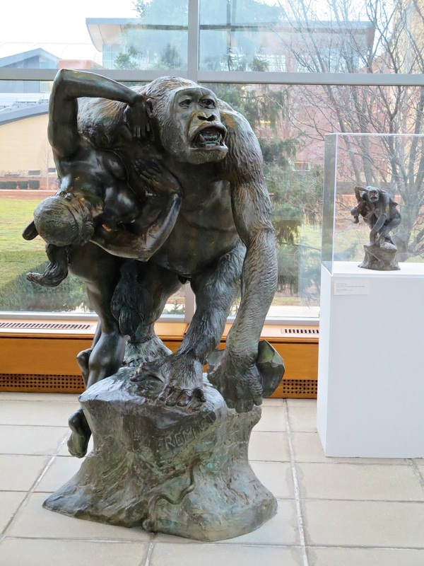 Frémiet, Gorilla Carrying off a Stone Age Woman, in the foyer of the Krannert Art Museum